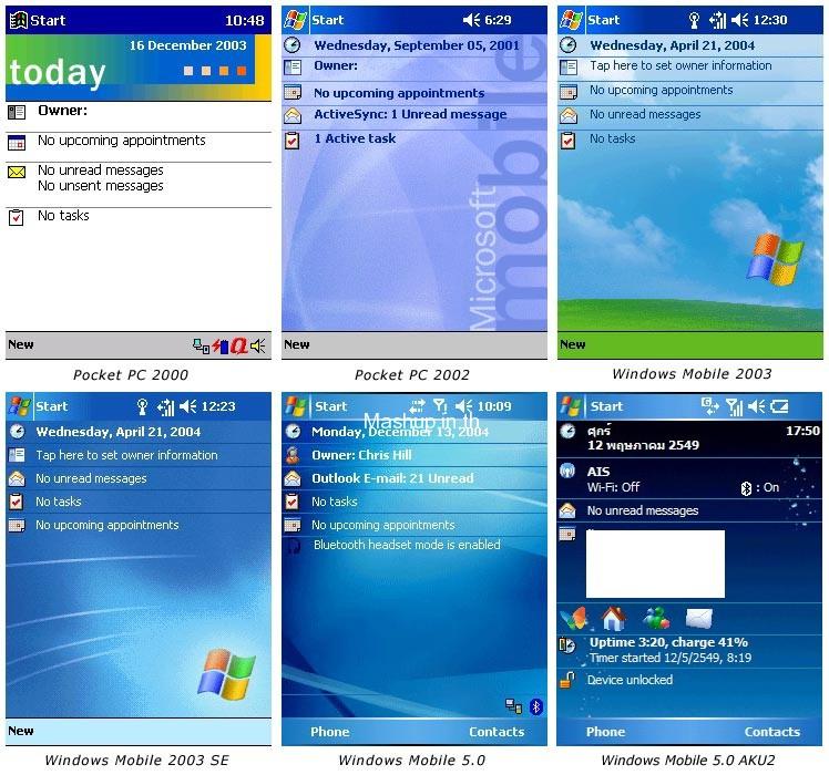 รูปที่ 1 ระบบปฏิบัติการ Windows Mobile รุ่นต่างๆ