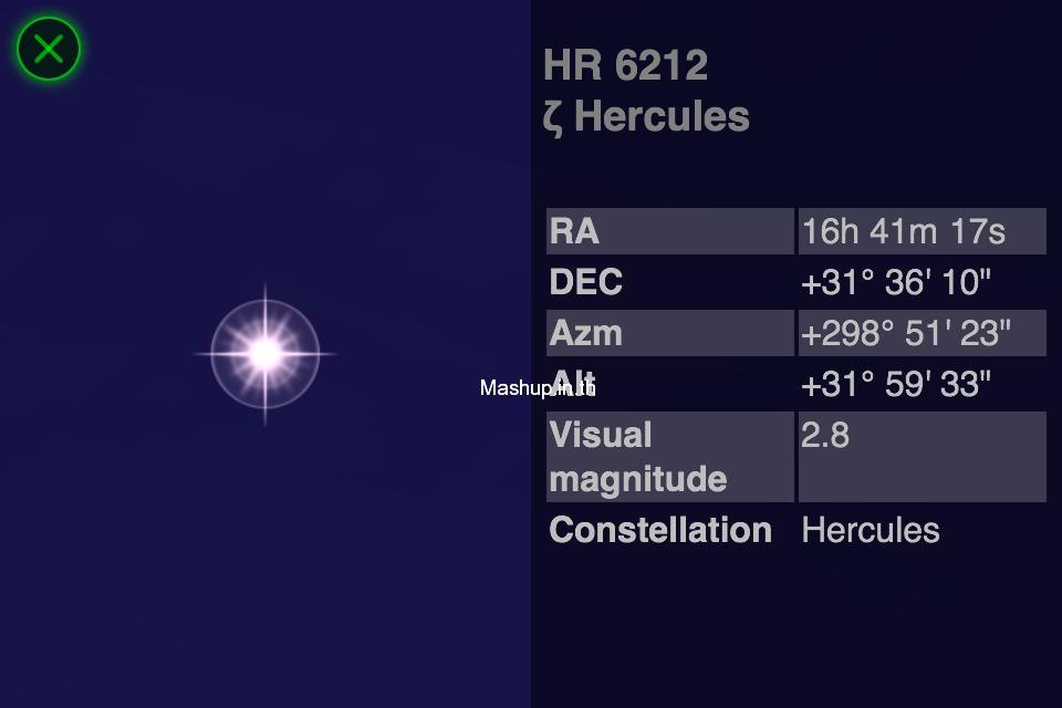 3 เมื่อแตะที่ดวงดาาวก็จะมีข้อมูลออกมา